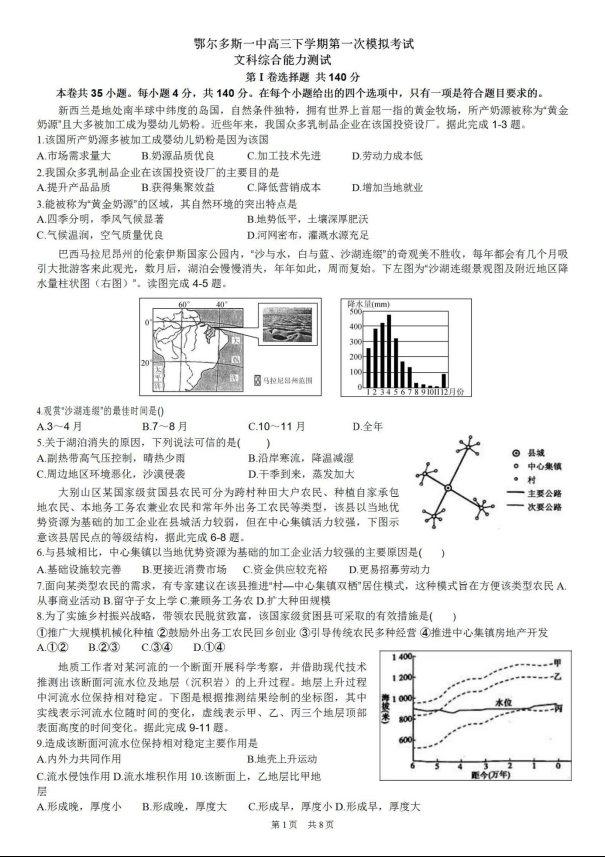 2020届鄂尔多斯市一中高三文综模拟试题(下载版)_01