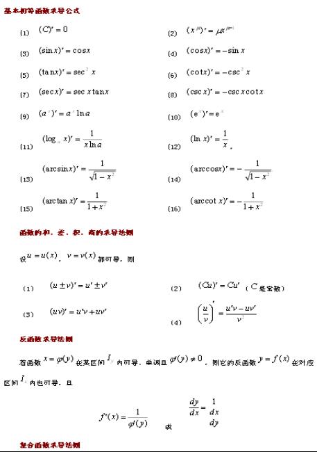 基本初等函数的导数公式知识点总结