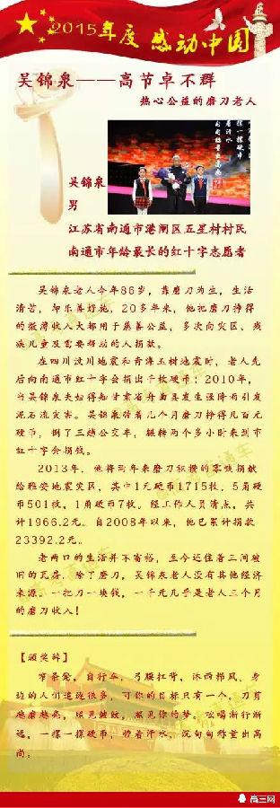 重磅素材:2015年度感动中国十大人物最新出炉!