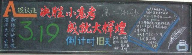 有关高考励志的黑板报版面设计