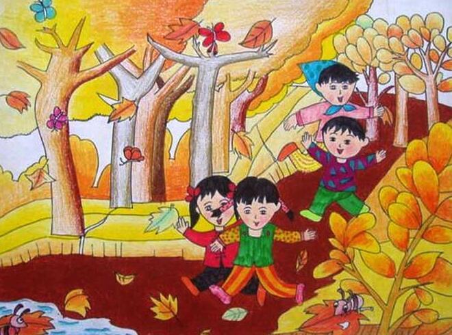 关于秋天的儿童画_高三网