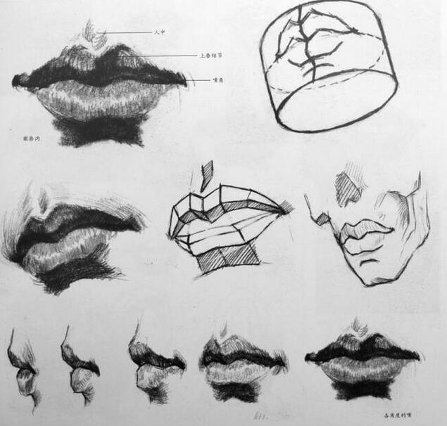 素描五官的详细画法 嘴的画法图片