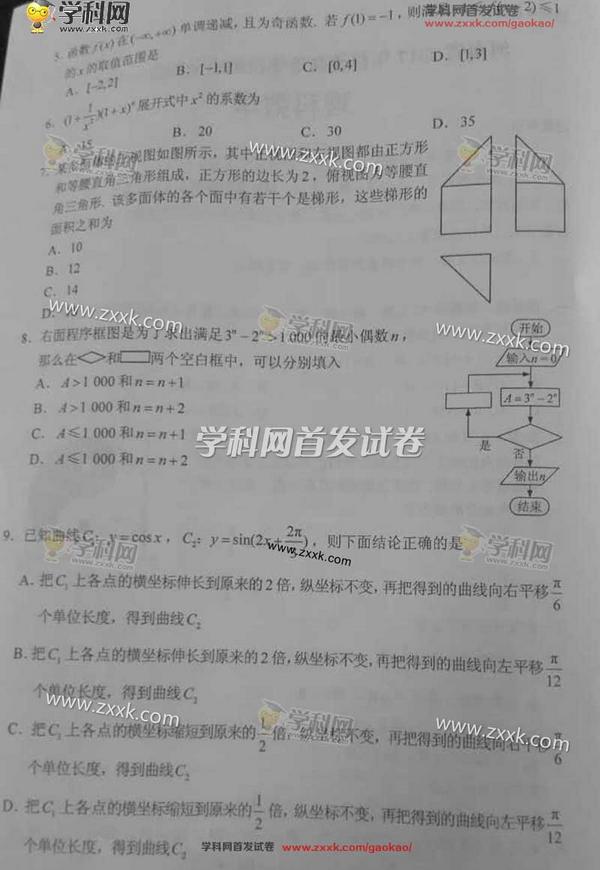 2017高考全国卷1数学试题及答案 高清图片版