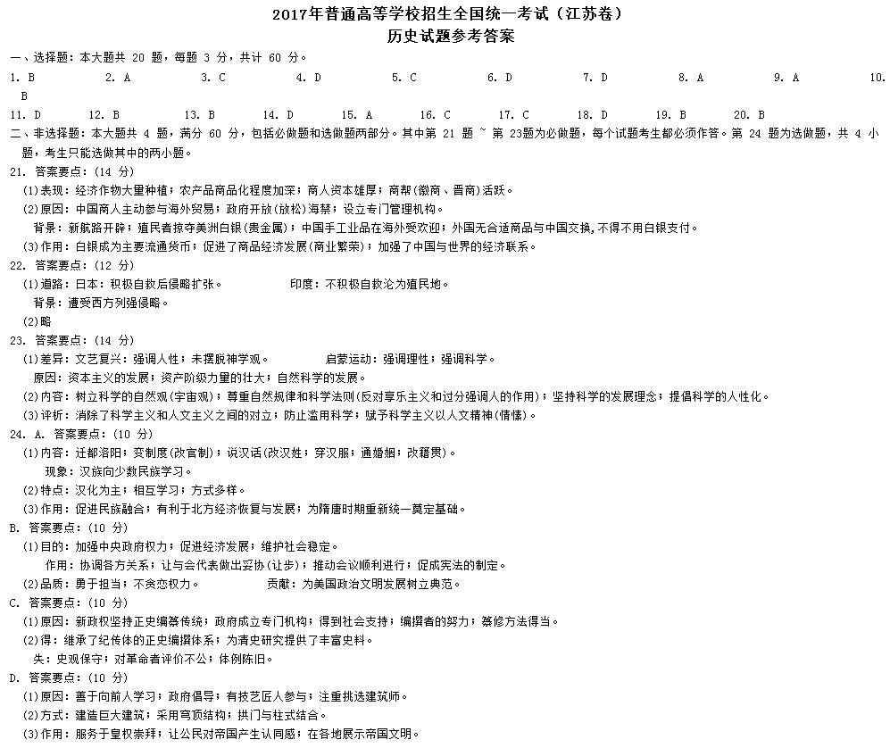 江苏高考历史试题答案