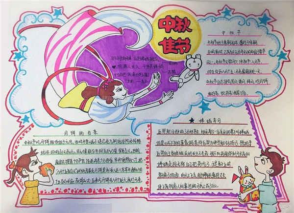 中秋节,又称月夕、秋节、仲秋节、八月节、八月会、追月节、玩月节、拜月节、女儿节或团圆节,是流行于中国众多民族与汉字文化圈诸国的传统文化节日,时在农历八月十五。中秋节要到了,高三网小编整理了《中秋节手抄报怎么写》,欢迎大家参考哦! 中秋节手抄报怎么写