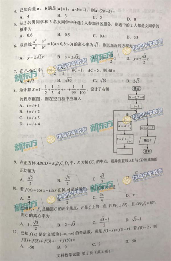 2018新疆高考文科数学试题【图片版】