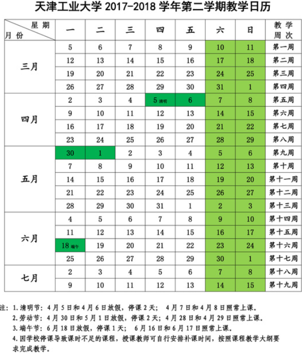 天津工业大学什么时候放暑假