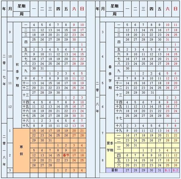 重庆各大学暑假放假时间安排表