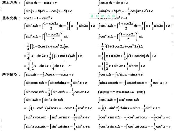 常用的积分公式是什么