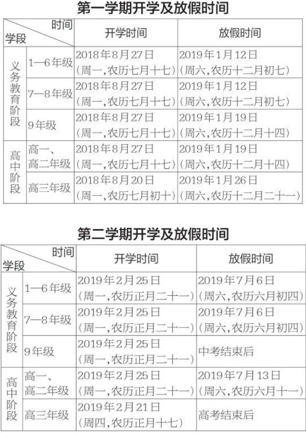 贵州2018—2019学年放假时间表