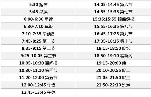 毛坦厂中学学生作息时间安排