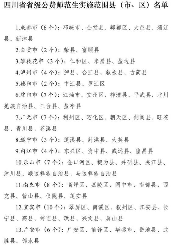 四川公费师范生报考条件