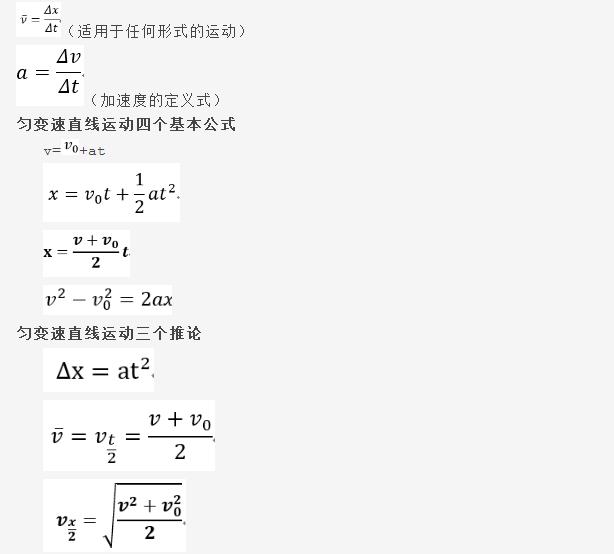 高中物理公式总结表