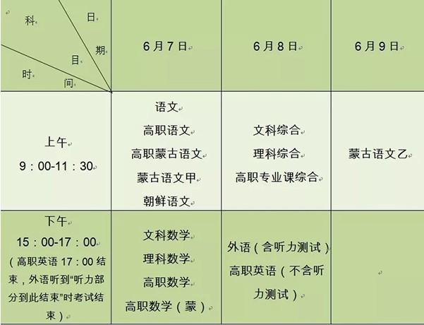 内蒙古2019高考具体时间安排