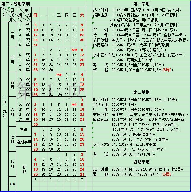 2019西南财经大学什么时候放暑假