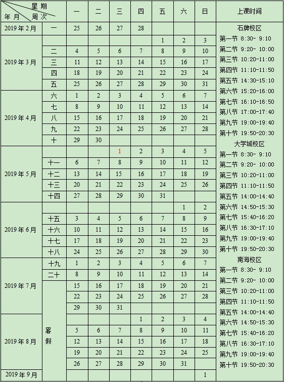 2019华南师范大学暑假放假时间安排