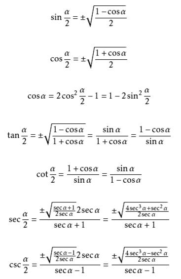 半倍角公式