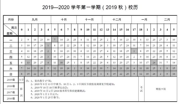 中国地质大学2020年寒假放假时间安排