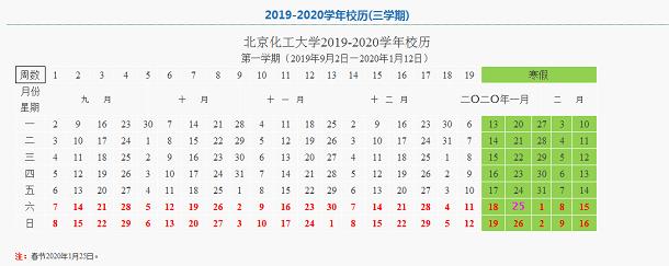 北京化工大学2020年寒假放假时间安排