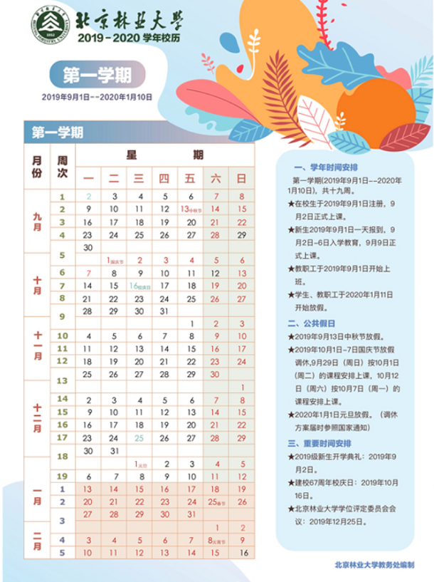 北京林业大学2020年寒假放假时间安排