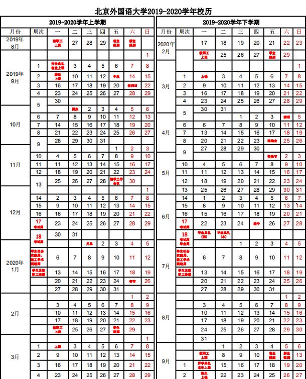 北京外国语大学2020年什么时候放寒假