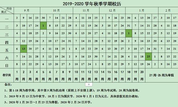 华北理工大学2020年寒假放假时间