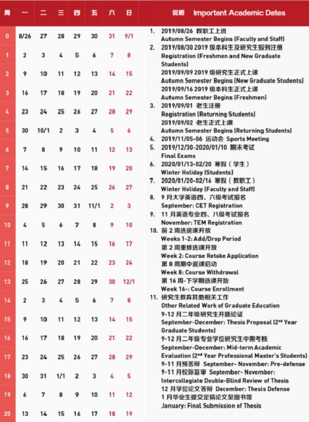 上海外国语大学2020年什么时候放寒假