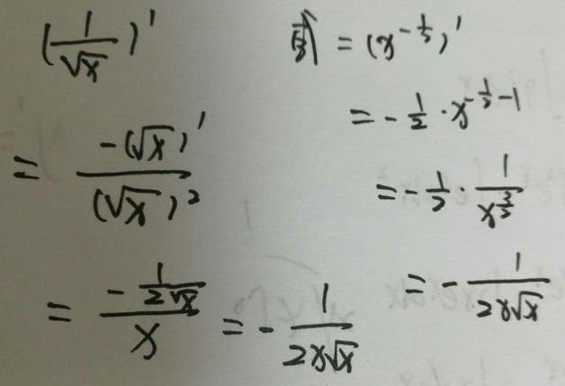 1/√x的导数