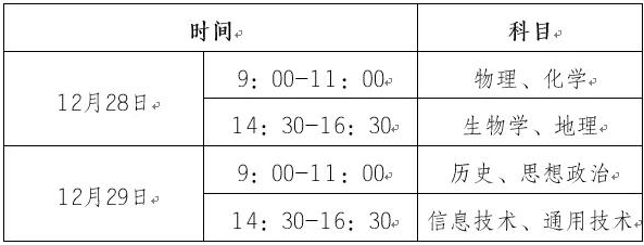 2020重庆学业水平考试安排