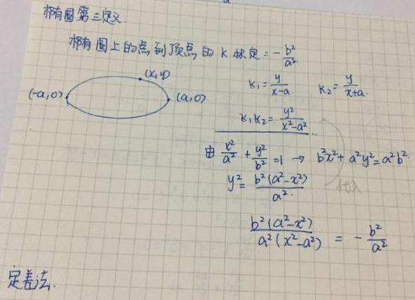 高一数学期末考点:椭圆的第三定义