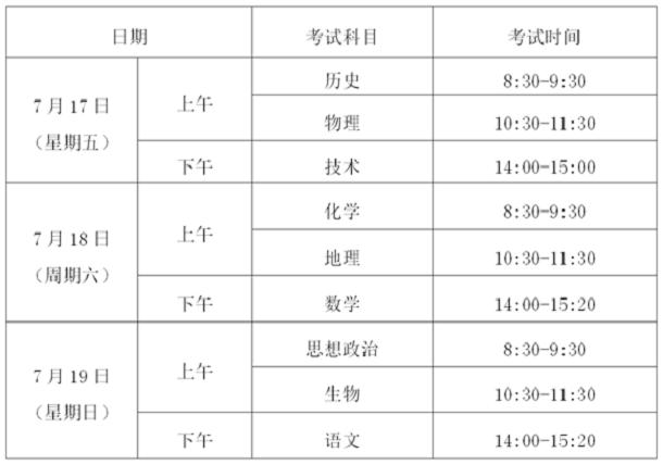 2020年浙江省普通高中学业水平考试时间安排表.png