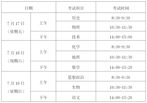 浙江省普通高中学业水平考试时间