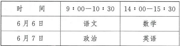 2020年安徽体育单招文化考试时间