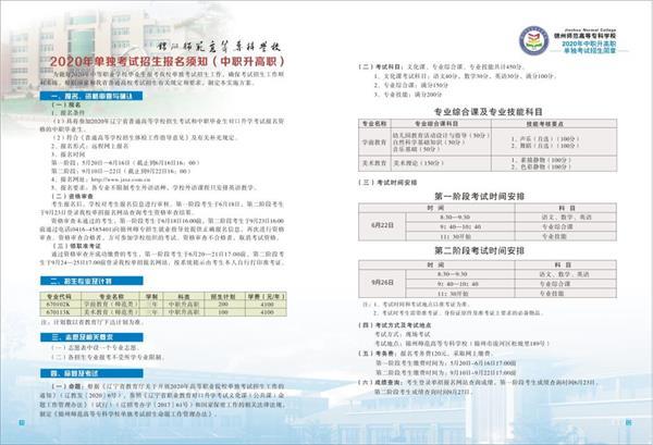 2020锦州师范高等专科学校单招专业