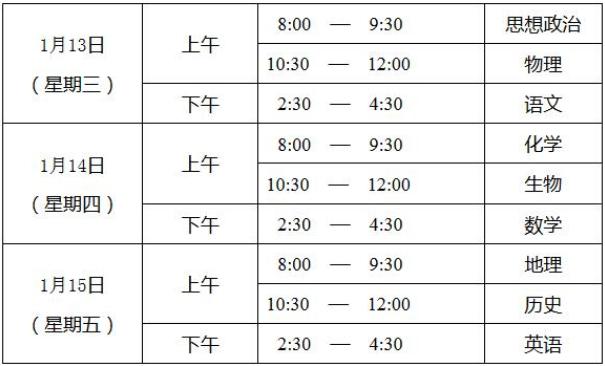 2021北京高中学业水平合格性考试时间及科目