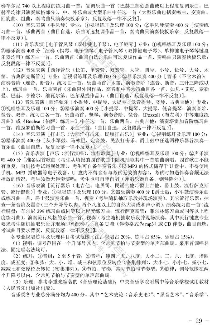 2021年四川音乐类统考招生简介