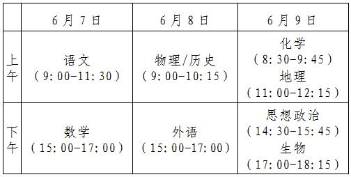 2021张家口高考考试时间和科目