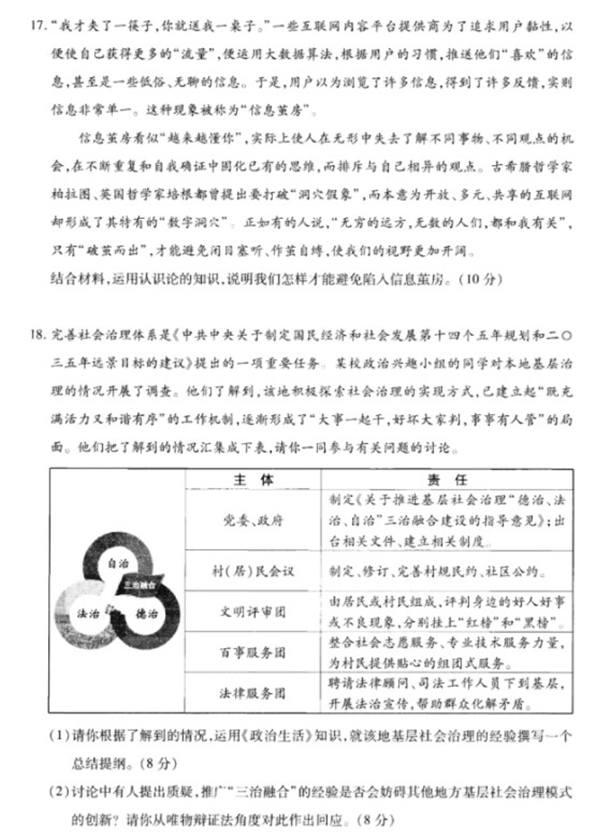 八省聯考政治江蘇卷試題