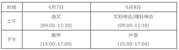 2021四川高考具体时间安排