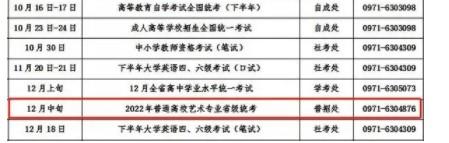 2022青海艺考考试时间